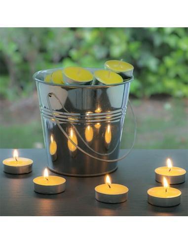 bougies à la citronnelle avec seau décoratif